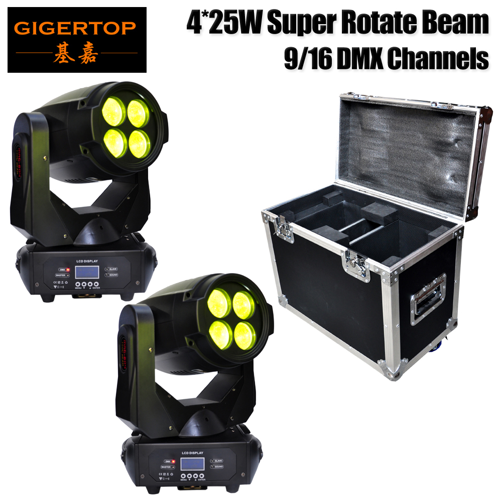 2IN1 Road Case Packing 4x25W Super Beam Led Moving Head Light Compacted Size Multi Function Infinite Rotated Strobe/Rainbow