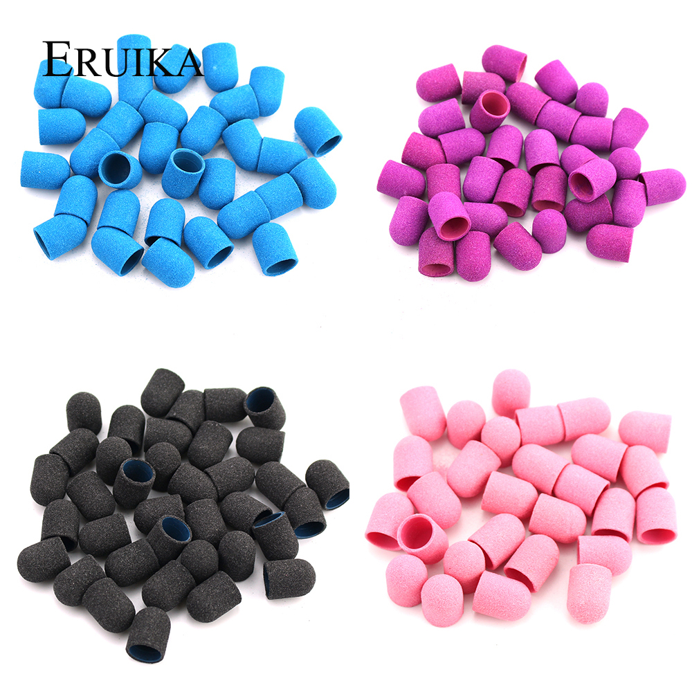 20pcs 10*15mm Electric Nail Drill Bit Plastic Base Sanding Caps Rubber Grip Mills Cutter For Manicure Pedicure Drill Accessories