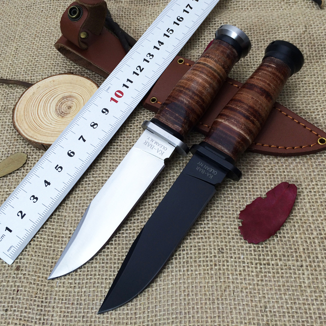 2 Colors Ka Bar Olean Ny Usn Mk1 Fixed Knife Steel Leather Handle 7cr17mov