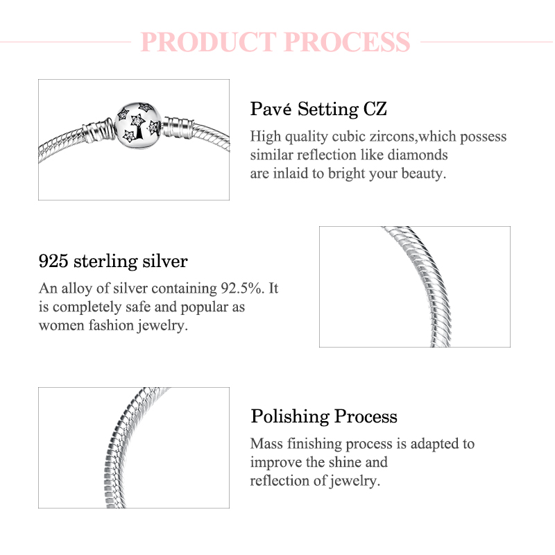 Image 5 - Authentic 100% 925 Sterling Silver twinkle Stars Snake Chain  Cubic Zirconia CZ Classic Womens bracelets Bangle DIY JewelryChain