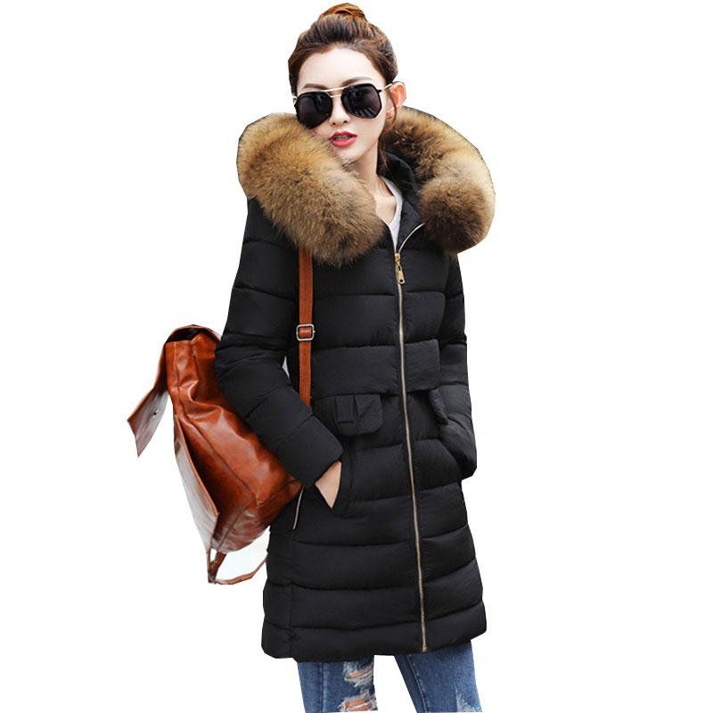 Ukraine Fur collar Winter Jacket Women Down Cotton Long Coat 2017 new Thicker Fashion Womens Jackets Parka manteau femme hiver real fox fur warm hooded padded jacket women solid color casual manteau femme hiver medium long parka slim coat cotton tt3461