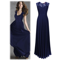 Sexy Sleeveless Women Cocktail Lace Floral Maxi Dress Retro Party