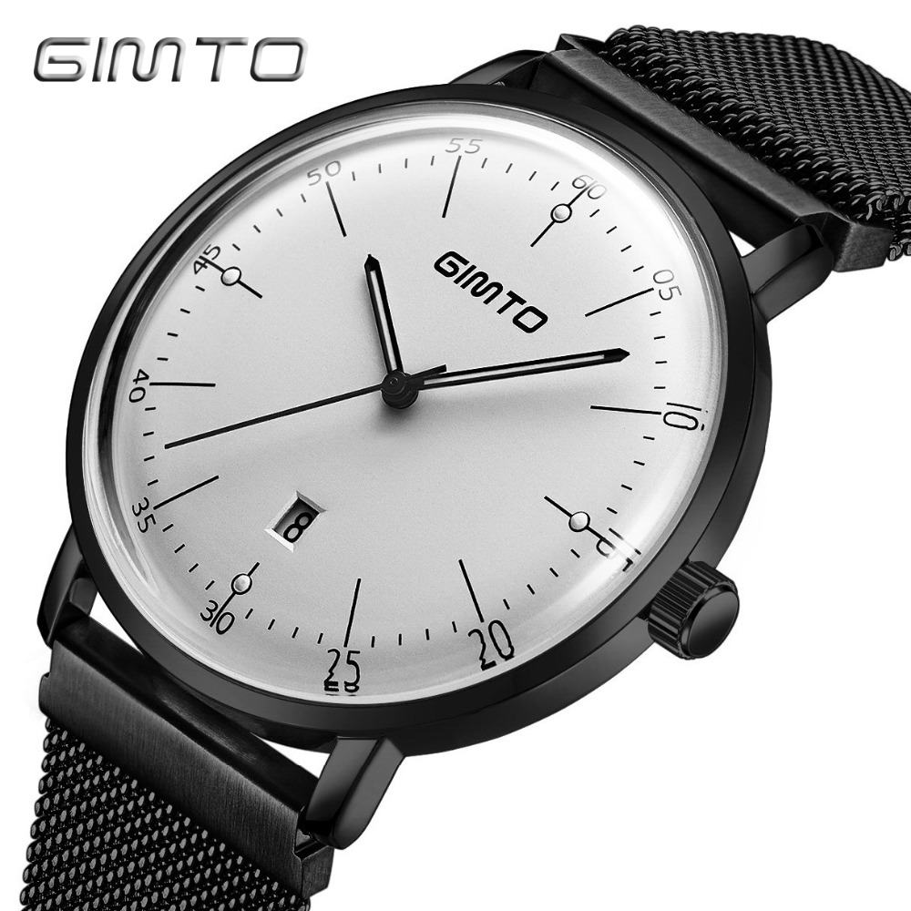 GIMTO Brand Luxury Men Watch calendar Steel Business Quartz Wristwatch Luminous Male Military Watches Sport Reloj Hombre Relogio kinyued top brand luxury watches men luminous sport men s watch steel male clock men quartz wristwatches reloj hombre 2017 saat