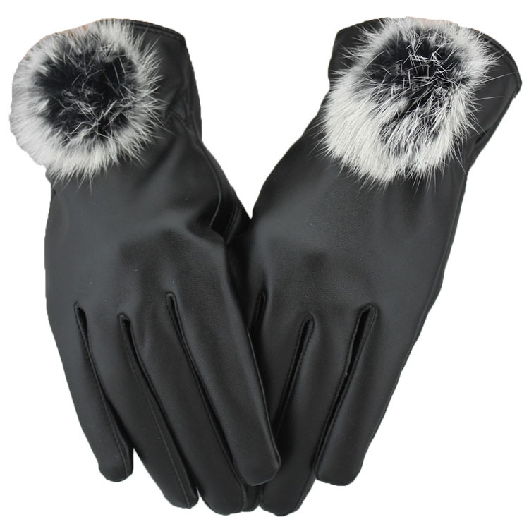 Winter Leather Gloves Touch Screen Women Soft Pu Leather Outdoor Mittens for Ladies Fashoin Black Full Finger Gloves New