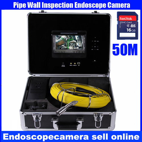Waterproof Pipeline Inspection Camera With 7'TFT 16GB SD Card DVR Recorder Drain Cleaning Snake Camera 50M Cable