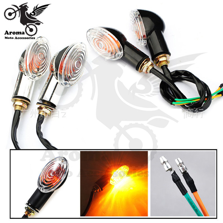 4 PCS cruise part scooter blinker lamp amber motorbike indicator for Harley Davidson moto flashers light motorcycle turn signals