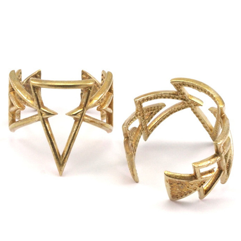 5PC.. Raw Brass Adjustable Triangle Rings Settings --YN051