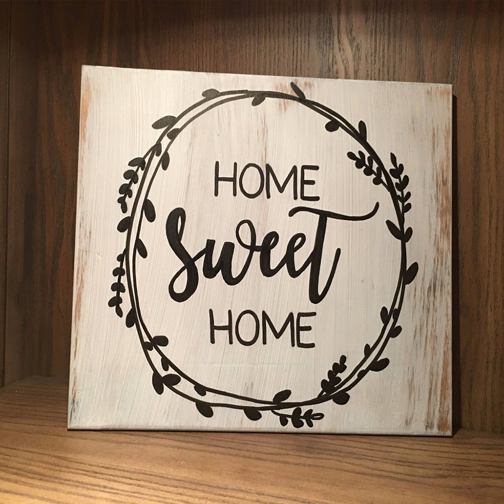 Us 3 26 31 Off 1 Pcs Decorative Rustic Wood Signs Home Sweet Sign Plaque Housewarming Gift Farmhouse Style Distressed Ornament In Plaques Signs