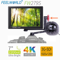 FEELWORLD FW279S 7 Inch 2200nit Daylight Viewable 3G-SDI Mini HDMI on Camera DSLR Field Monitor 4K HDMI 1920X1200 for Outdoor