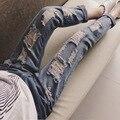 XXXXXL Más Tamaño 2016 Nuevos Pantalones Vaqueros de Cintura Alta Vintage Girls Jeans Pantalones Loose Ripped jeans para mujeres Con Agujero