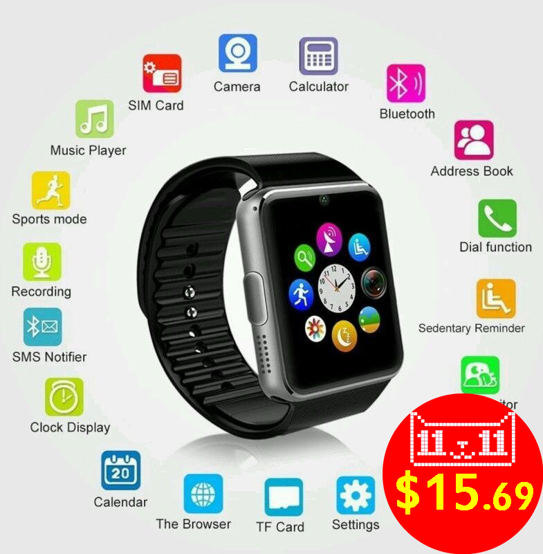 Sim Smart Watch plug TF Card Cam Touch Screen Phone Passometer Fitness Message Remind Smartwatch wearable