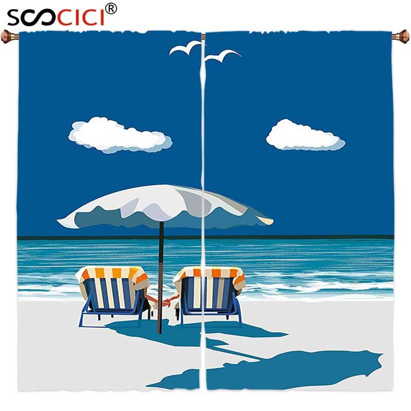Window Curtains Treatments 2 Panels,Coastal Couple on Deck Chairs Beach Holding Hands Umbrella Romance Sea Vacation Blue White