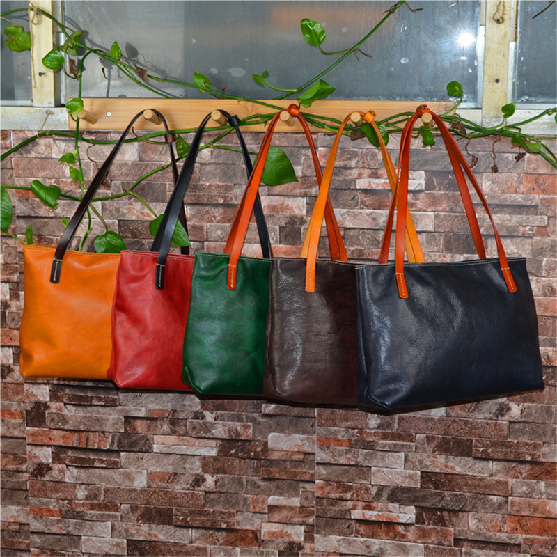 Nesitu Black Red Coffee Yellow Green Soft Vegatable Tanned Genuine Leather Women Shoulder Bags Lady Female