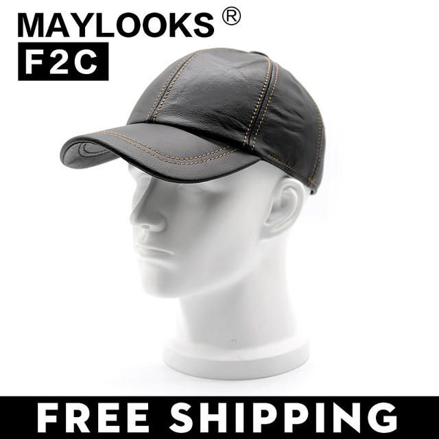 New Year's Sale!genuine Leather Man's Baseball Cap Hat  High Quality Men's Real Leather Adult Solid Adjustable Hats Caps CS42