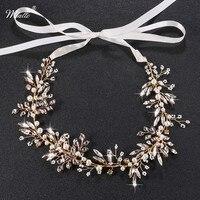 Miallo Handmade Pearl Crystal Bridal Hair Vine Jewelry Gold Bridal Boho Headpiece Headband Accessories HS J4527
