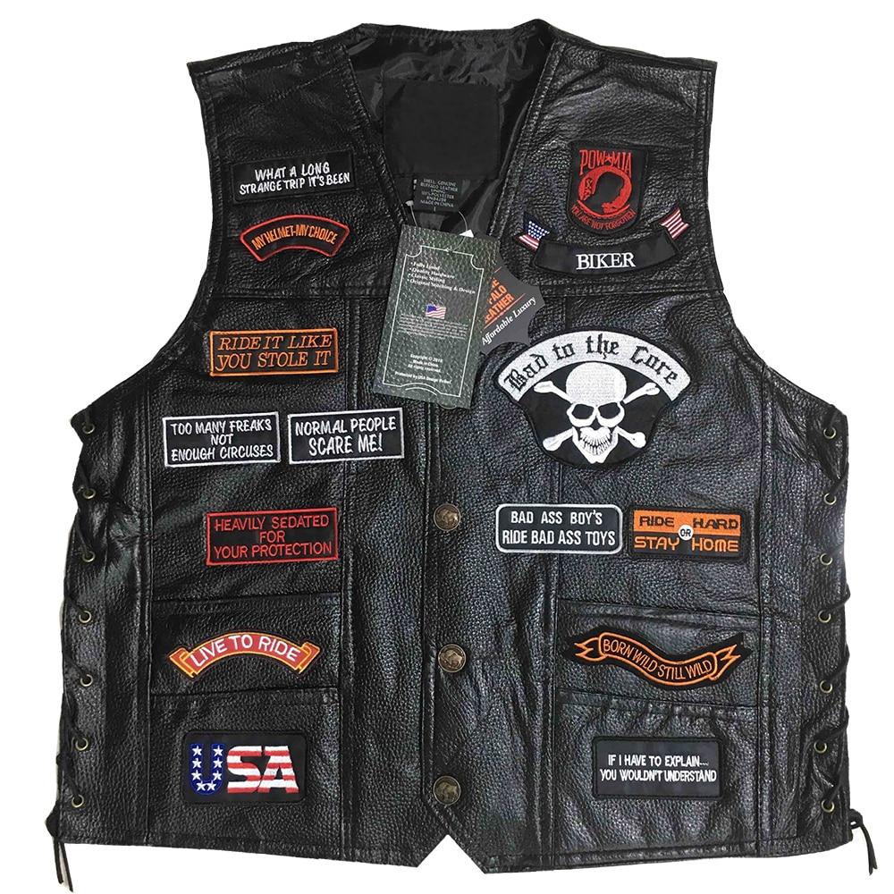 Motorcycle Jacket Motos Biker Ceket Sheepskin Leather Vest Mens Chaqueta Motoqueiro Punk Retro Jaqueta Casual Moto Vest Clothing