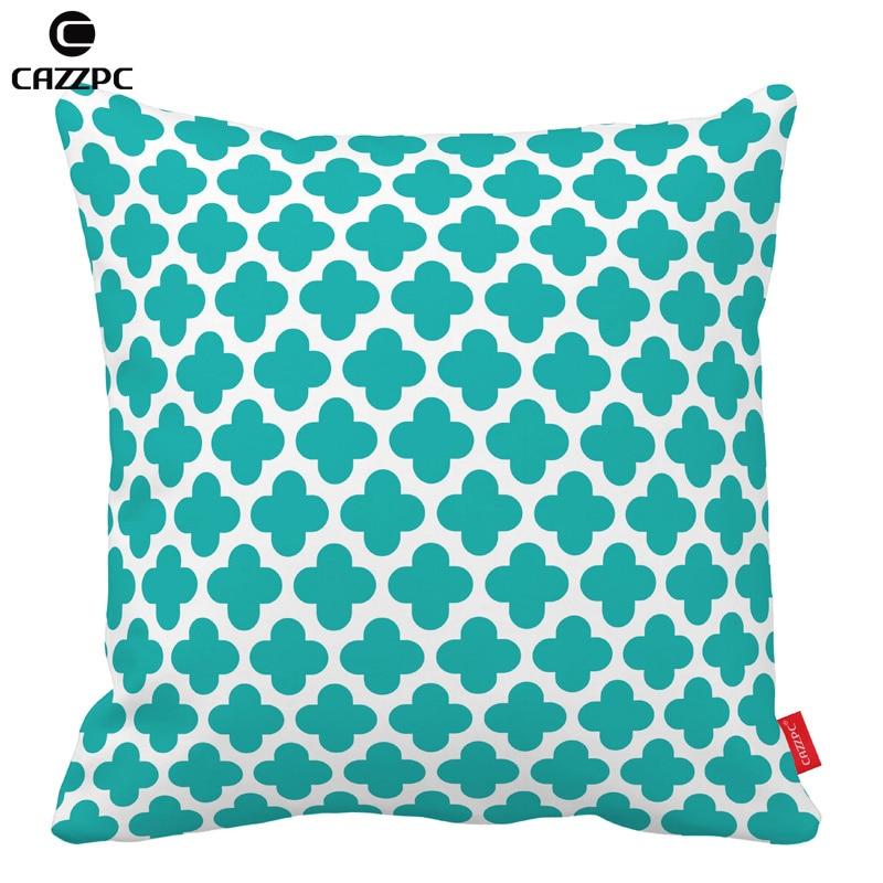 Turquoise Quatrefoil Diamonds geometry Decorative Pillowcases Cushion Cover Pillow Home Decor Car Back Sofa Chair Cushion