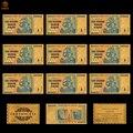 10 pçs/lote colorido zimbábue 100 trilhões de ouro dólar dinheiro puro ouro 999 moeda notas de papel coleções