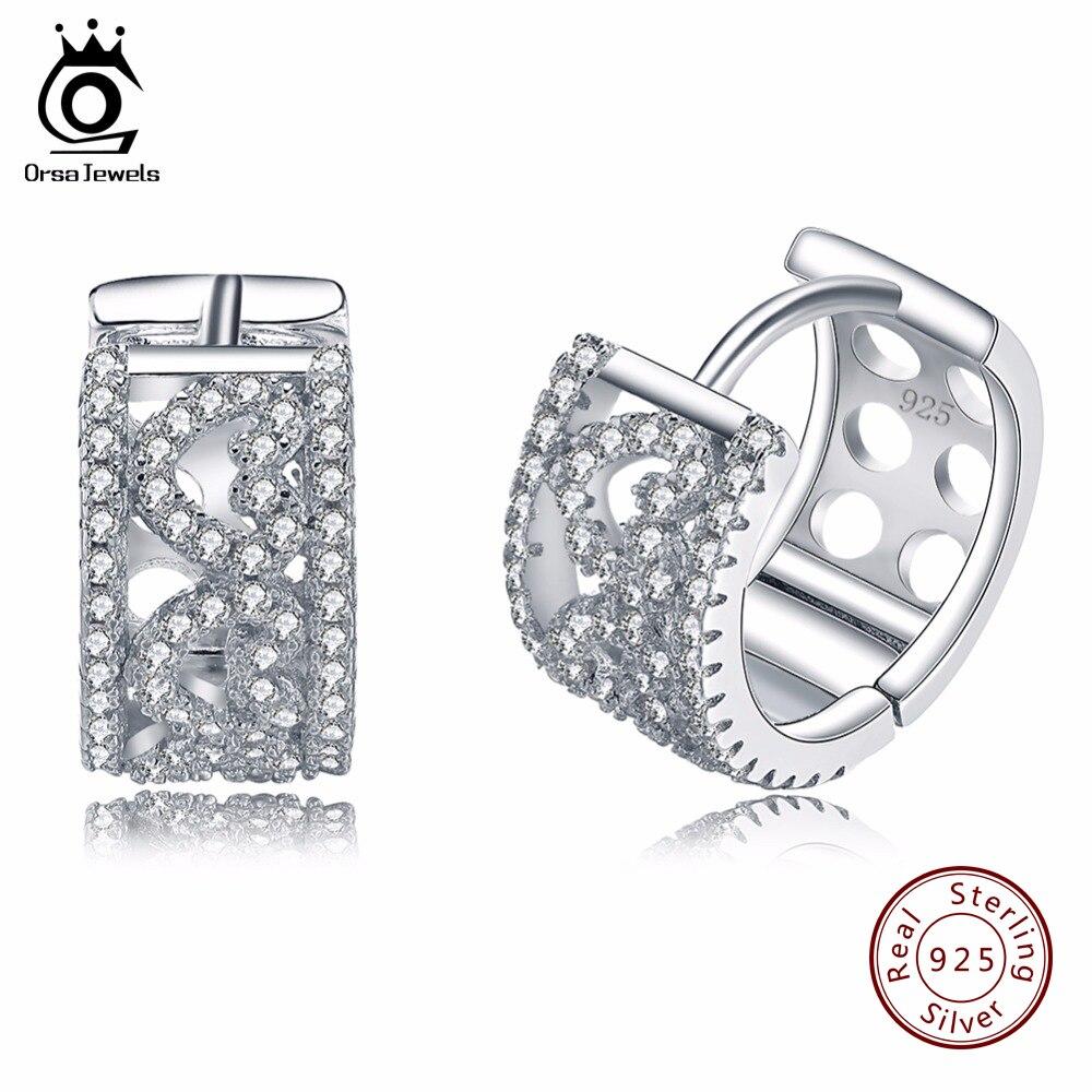 ORSA JOYAUX Mode Femmes Bijoux 925 Sterling Argent Boucle D'oreille Petit Creux Boucles D'oreilles avec Coeur Forme Cubique Zircone SE21