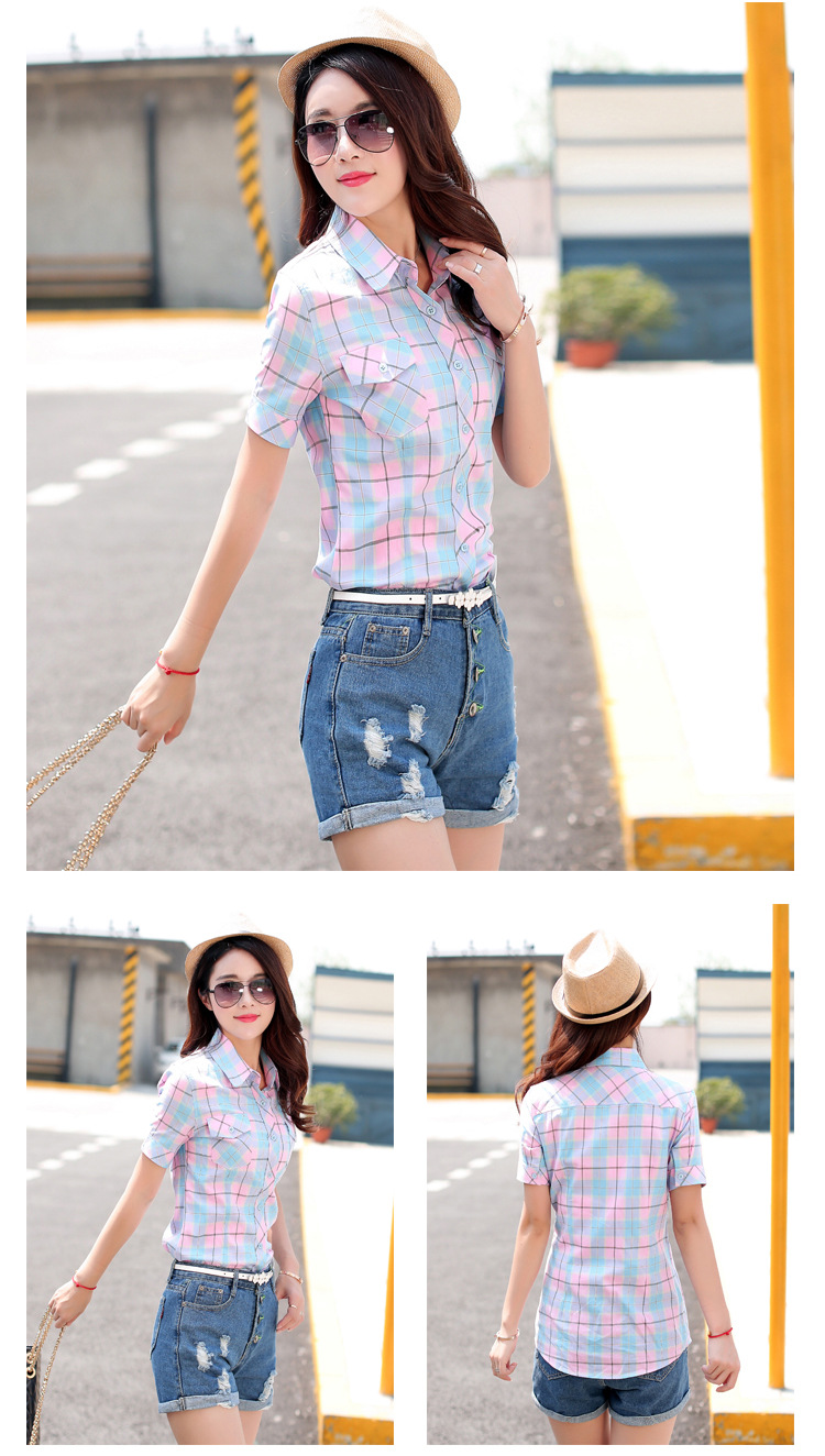 HTB1ffDJHFXXXXcPXpXXq6xXFXXXg - New 2017 Summer Style Plaid Print Short Sleeve Shirts Women