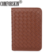 COMFORSKIN Luxurious Hand-Made Sheep-skin Credit Card Case Genuine Leather Coin Purse Large Capacity Travelling Passport Wallet