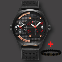 Dual Time Zone CURREN Watch Men Luxury Brand New Black Leather Strap Fashion Casual Business Waterproof