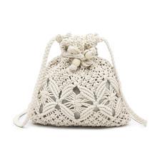 Rope Woven bag Rhombic Design Elegant Hollow Cross-body Bucket Bag Drawstring Handbag Holiday Leisure Beach Handbag