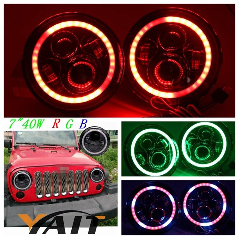 YAIT 7 LED RGB Headlight Round Headlamp for Jeep Wrangler TJ CJ JK Changing Color Angel Eye Halo Ring Bluetooth Controlled marloo pair 7 led headlight for jeep wrangler jk headlamp with halo angel eye