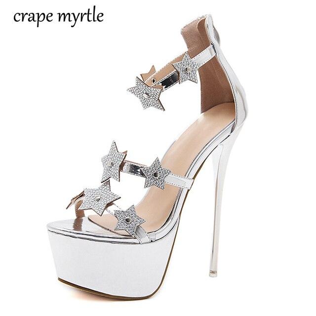 Women Heels 2018 Platform Sandals S Summer Shoes High Heel Pumps Rhinestone Silver Wedding