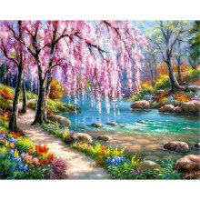 5D Diamond Painting Landscape Cross stitch Full Diamond Embroidery DIY Scenery Mosaic Picture Rhinestone Home Decor цена