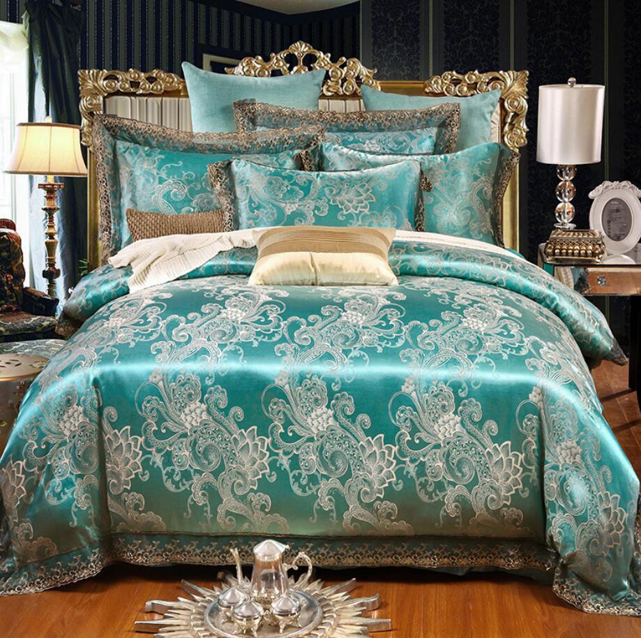 สีเขียว Jacquard ผ้าลินิน Queen King ขนาด 4 pcs ลูกไม้ซาตินผ้านวม/ผ้านวมคลุมเตียงปลอกหมอนชุดเครื่องนอนบ้านสิ่งทอ-ใน ชุดเครื่องนอน จาก บ้านและสวน บน   1