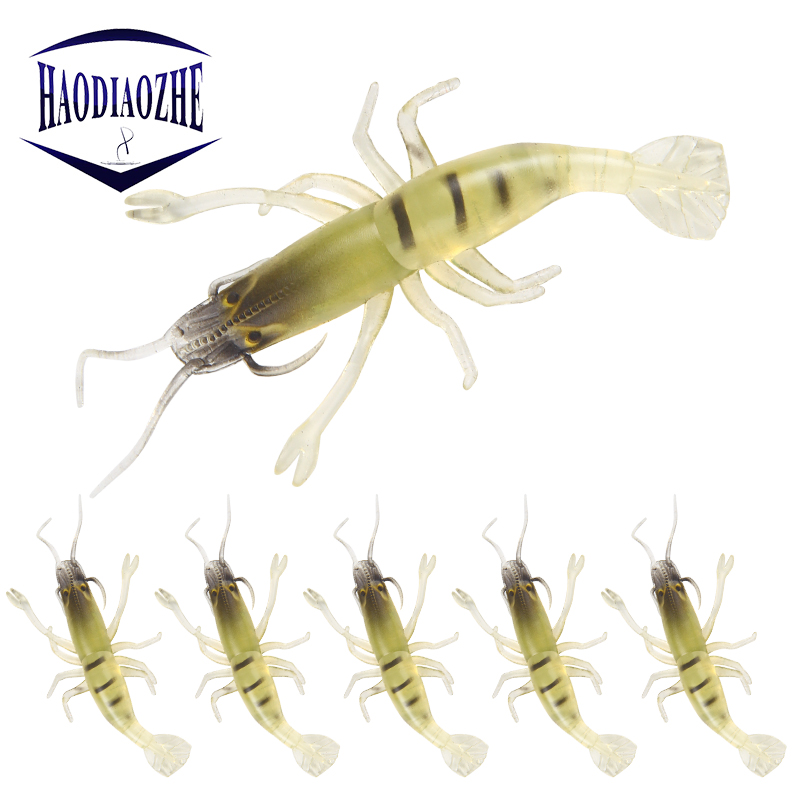 5pcs Shrimp Fishing Lures 4.5cm 1.3g Artificial Crank Bait Slow Sinking Plug Worm Silicone Worm Fake lure Soft Baits Pesca