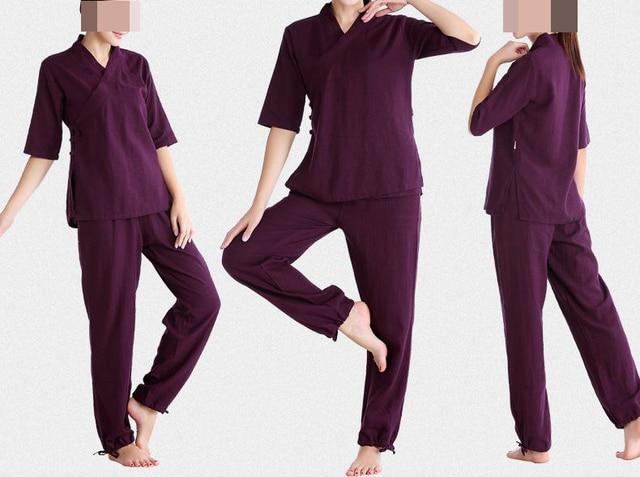 Visualizzza di più. 5 colori primavera e l estate del cotone e lino  femminile yoga vestiti tai- a800c36275a
