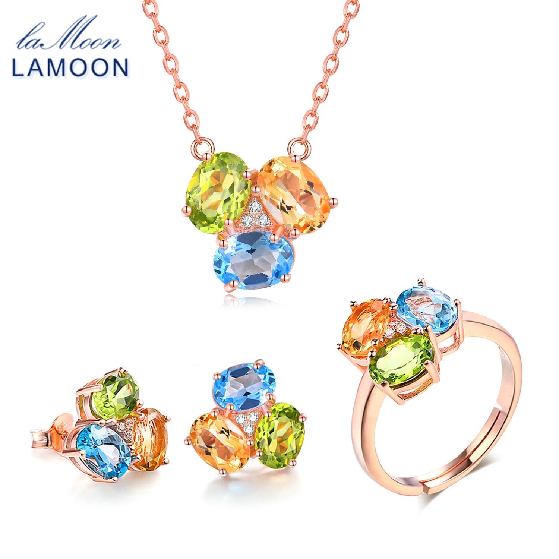 LAMOON 3pcs 3ct Oval Yellow Citrine Green Peridot Blue Topaz 925 sterling-silver-jewelry  Jewelry Set V003-2LAMOON 3pcs 3ct Oval Yellow Citrine Green Peridot Blue Topaz 925 sterling-silver-jewelry  Jewelry Set V003-2