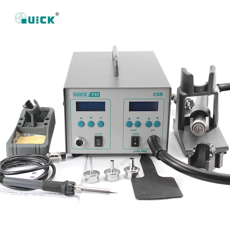 QUICK 712 2 In 1 Soldering Station 861DW Hot Air Gun 1000W+203H Soldering Iron 90W Dual Digital Display Temperature Adjustable