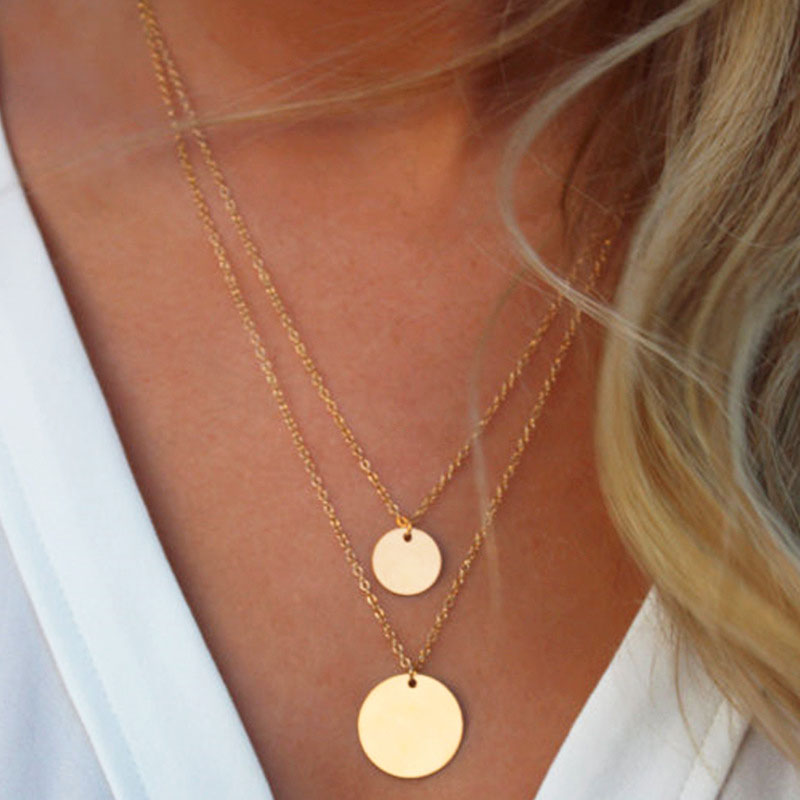 Vintage Double Layer Round Pendant Copper Sequins Choker Necklace for Women Chocker Colar Clavicle Necklace Jewelry Kolye YN406 in Choker Necklaces from Jewelry Accessories