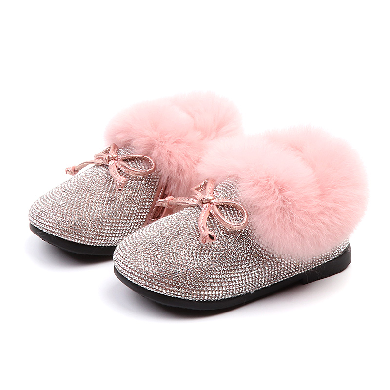 Bling Crystal Girls boots 2018 New Warm Winter Kids Fur Shoes Cute Bow Knot Toddler Baby Princess Shoe Pink Black 1 2 3 years цена