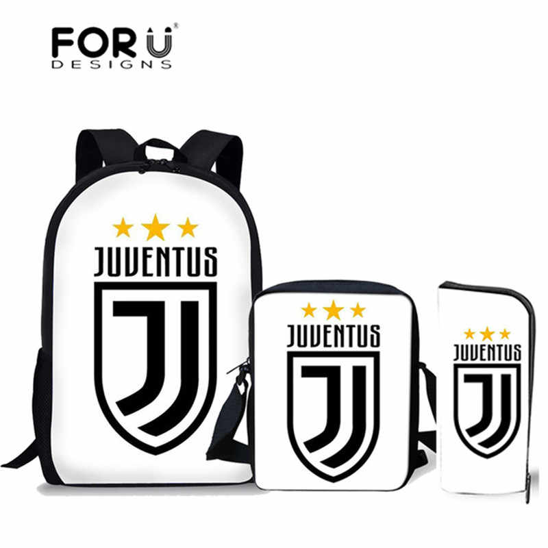 88b8a7b292 Detail Feedback Questions about FORUDESIGNS Juventus Cristiano Ronaldo 7  Printed School Bags for Boys CR7 School Backpack Set Schoolbag Teenager  Bookbag ...