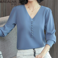Korean Autumn Spring Long Sleeve Chiffon Womens Tops and Blouses Solid Work Wear Bottoming V neck Loose Blouse Shirt Blusa Mujer