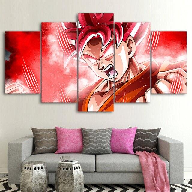 Canvas Paintings Wall Art Framework 5 Piece Goku Super Saiyan Poster ...
