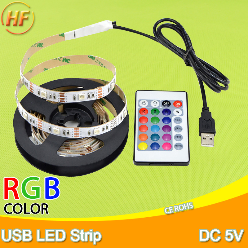 все цены на LED Strip light RGB 2835 SMD 5V USB Power LED strip 0.5M 1M 2M 3M 4M Christmas desk Decor lamp tape For TV Background Lighting онлайн