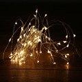 10 M 100LED Luzes Da Corda LED de Natal Ao Ar Livre Luzes De Fadas Fio de Prata Branco Quente LED Estrelado Luzes DC 12 V Decoração do casamento