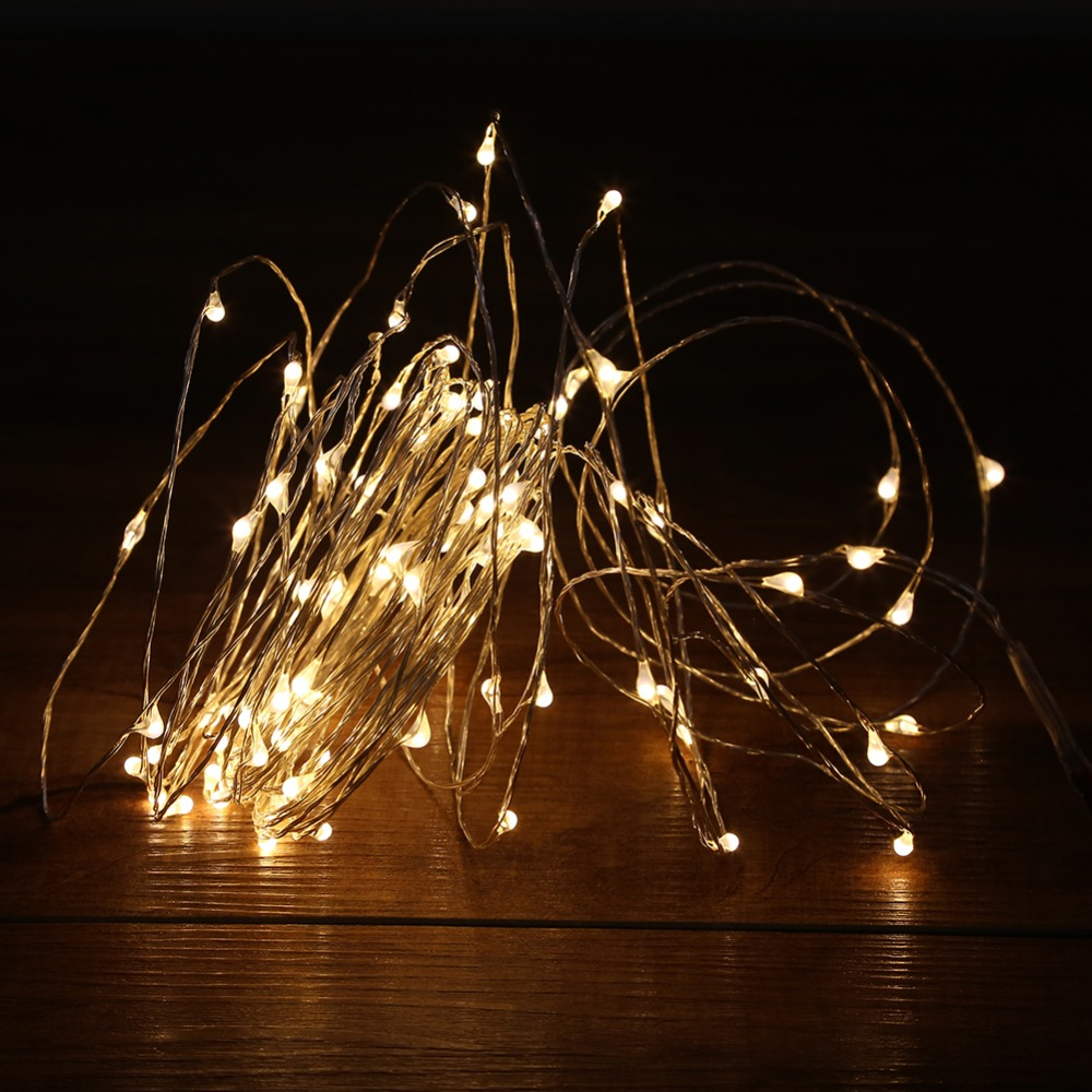 10m 100led Led String Lights Outdoor Christmas Fairy Warm White Silver Wire Starry Dc 12v Wedding Decoration