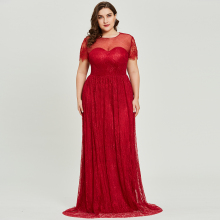 Dressv бордовое вечернее платье с овальным вырезом размера плюс элегантное ТРАПЕЦИЕВИДНОЕ ПЛАТЬЕ с короткими рукавами для свадебной вечеринки кружевное вечернее платье