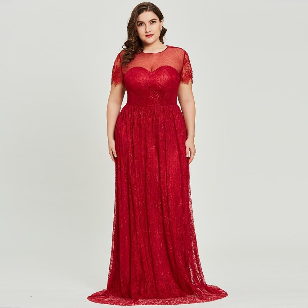 Dressv Burgundy Scoop Neck Plus Size Evening Dress Elegant A Line Short Sleeves Wedding Party Formal Dress Lace Evening Dresses