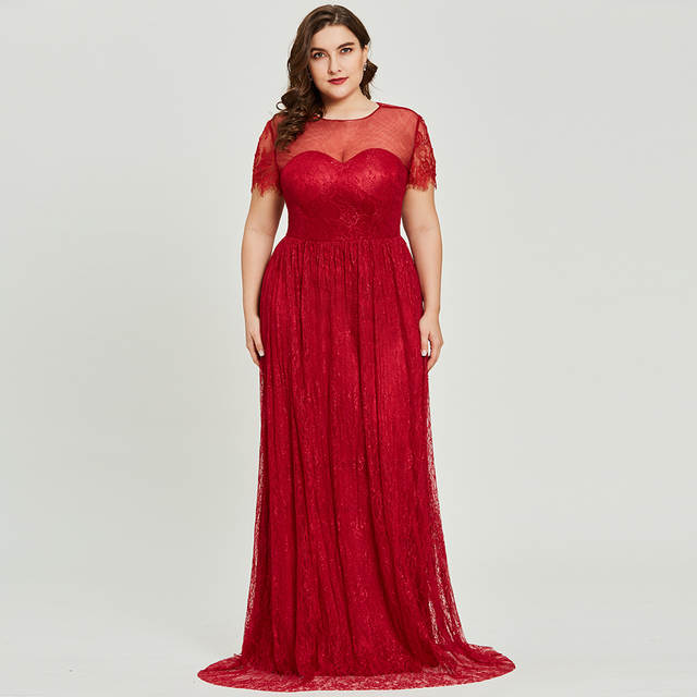 Online Shop Dressv burgundy scoop neck plus size evening dress elegant a  line short sleeves wedding party formal dress lace evening dresses  872be187b9b5