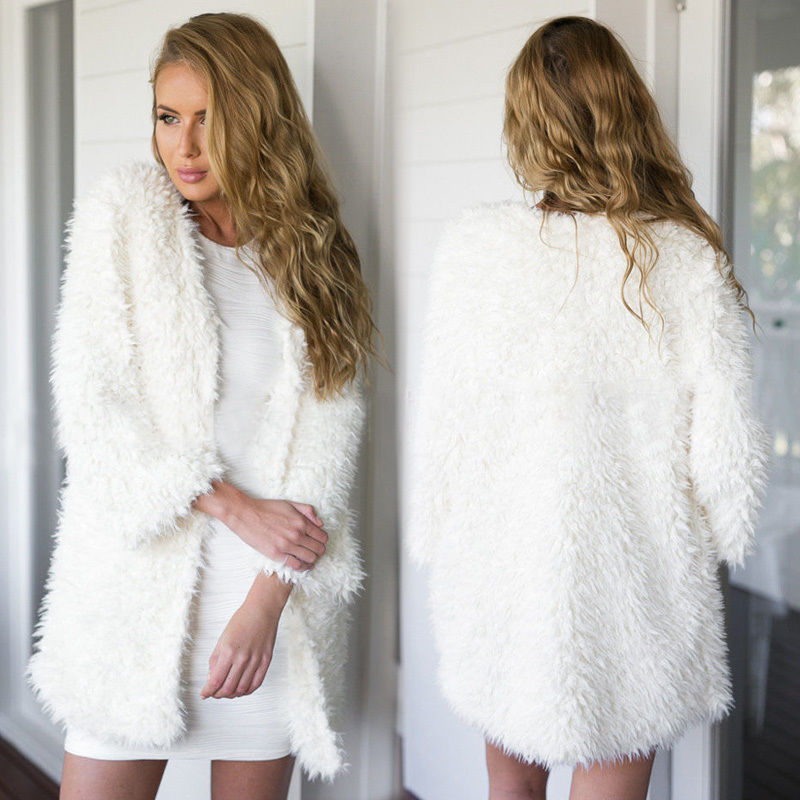 2018 Winter Autumn Women's Clothes Fluffy Shaggy Faux Fur Cardigan Whit Color Slim Long Warm Outwears Sweaters