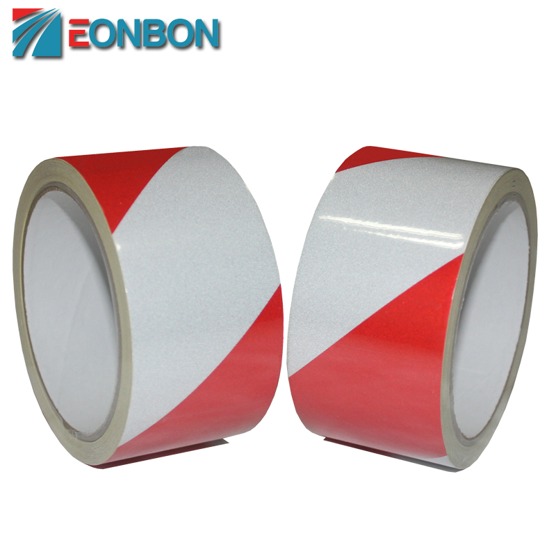 High Visibility Red White Road Warning Reflective Adhesive Tape For Safefy 5CM X 10M