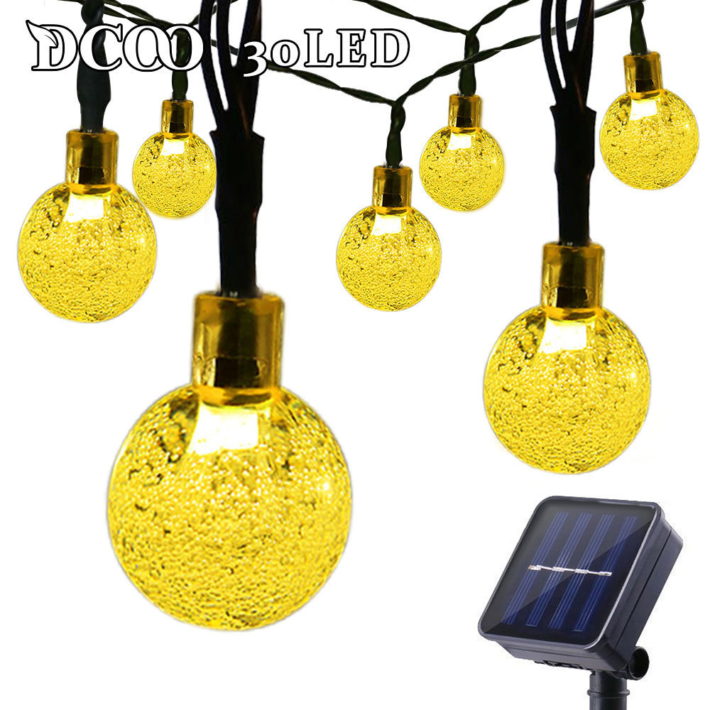 Dcoo Outdoor String Lighting Soldrevet Globe Ball Lights 30 LED Sloar String Party Lights Solar String Wedding Decoration