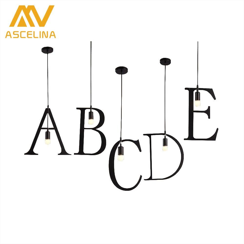 ASCELINA DIY brief licht Kreative anhänger lichter Nordic led lampe e27 decor lampen für wohnzimmer Alphabet Form licht leuchte